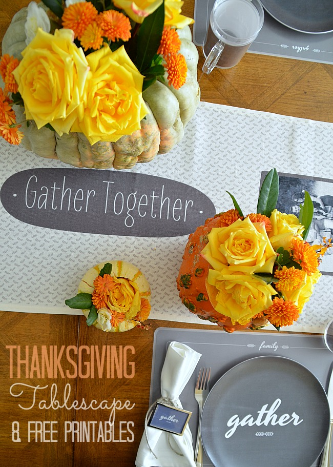 Thanksgiving tablescape and free Thanksgiving Printables at tatertots and jello