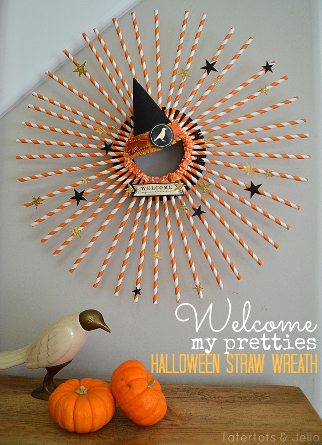 welcome my pretties Halloween Straw Wreath