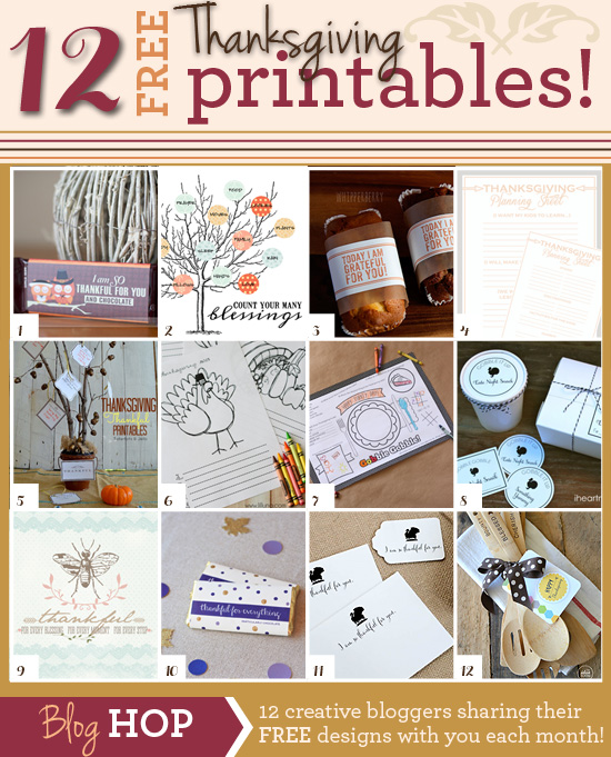12 thanksgiving printables