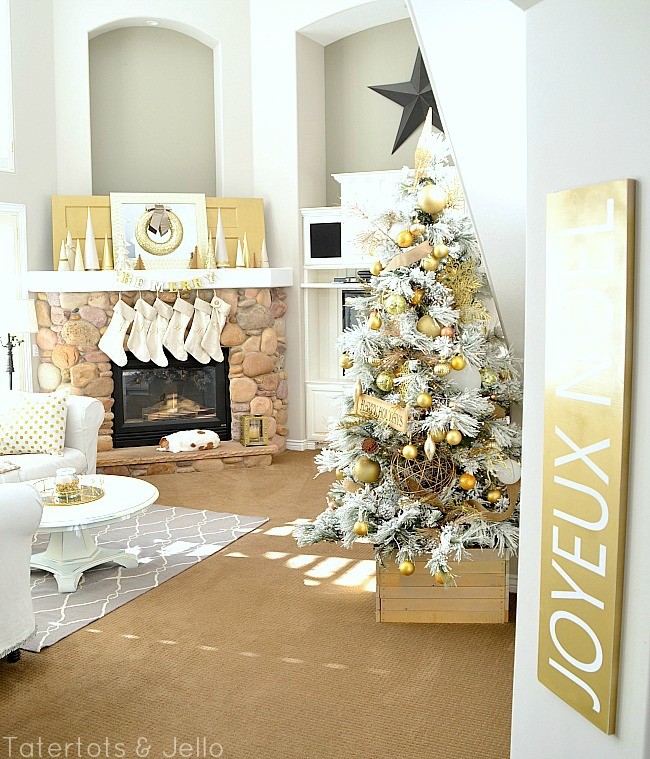 gold and white christmas decorating