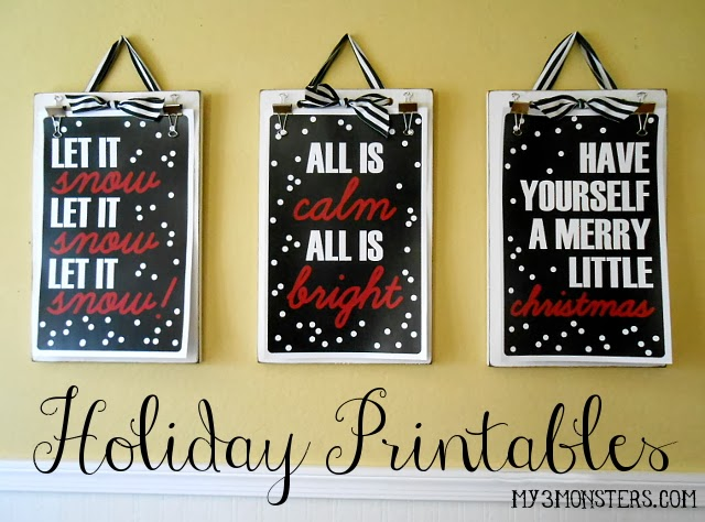 holiday printables framed