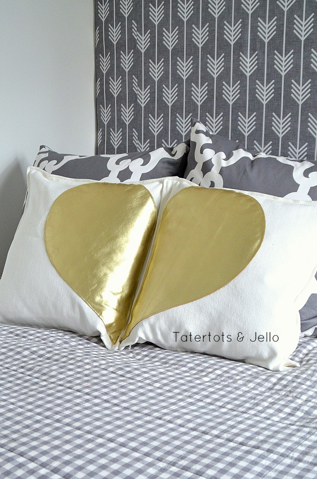 gold leather half heart pillows