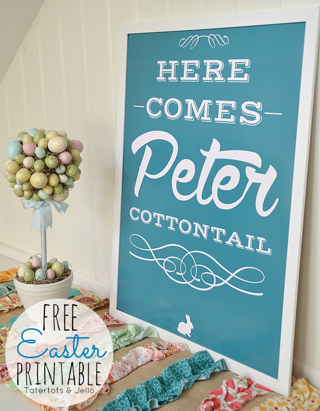 Free Easter Printable in 6 different colors at tatertots and jello. #freeprintable #easter