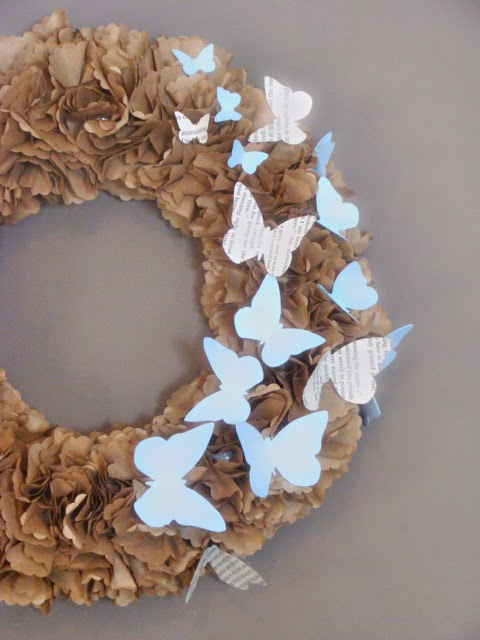 paper butterfly wreath
