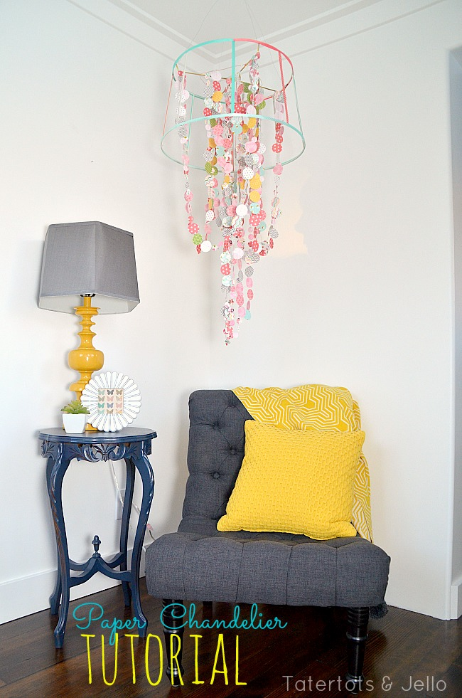 scrapbook paper chandelier tutorial at tatertots and jello