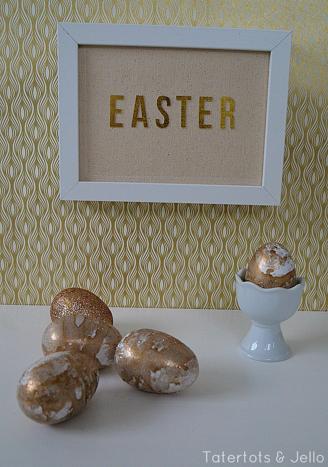 diy gold and glitter marbled eggs tutorial