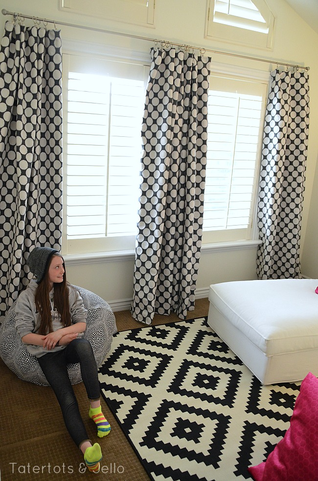 tween hangout room polka dot curtains