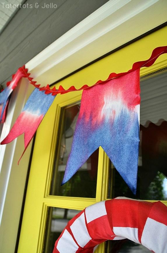 tie dye patriotic pennant tutorial