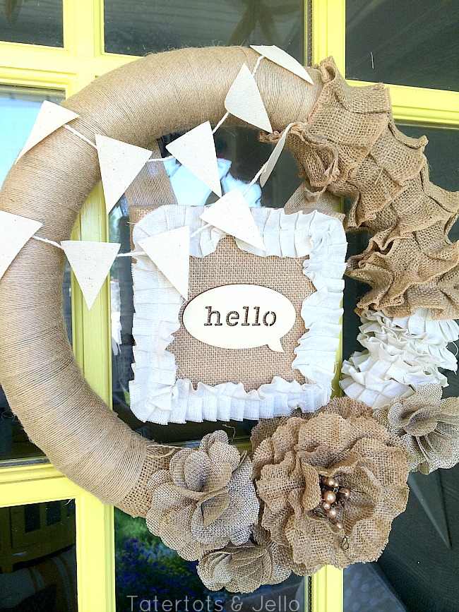 summer burlap and canvas wreath at tatertots and jello
