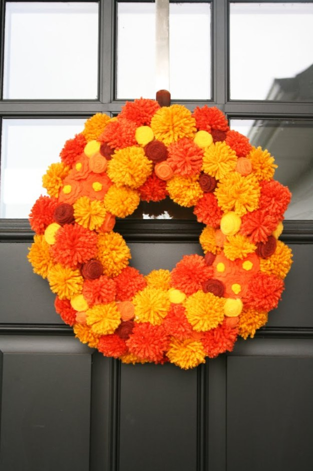 fall pom pom wreath