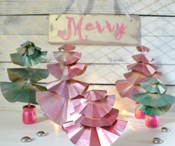 mercury glass paper christmas tree tutorial DIY at tatertots and jello