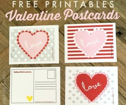 Adorable Valentine Postcards – Free Printables!