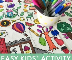 Easy Kids' Activity Idea — Tablecloth Coloring!