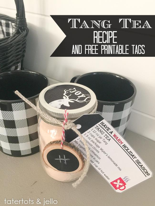 Tang tea Recipe and printable gift tags