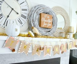 Thanksgiving Mantel and DIY Paper Thankful Banner!