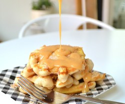 Churro Waffles with Dulce de leche Topping