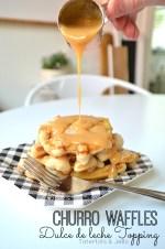 Churro Waffles with Dulce de leche Topping