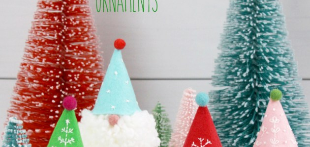 Wee Little Gnome Pom Pom Ornaments. Make these little ornaments for your tree or they would make cute Christmas present toppers!