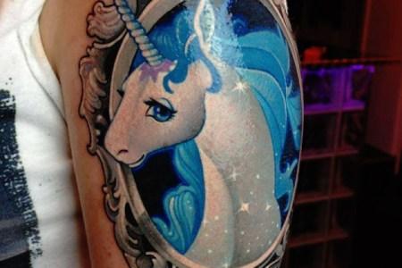 framed magical unicorn tattoo