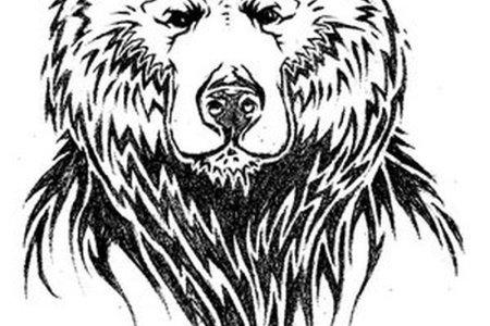 simple design of bear face tattoo