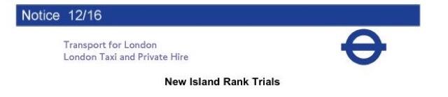TfL Notice 12/16 New Island Ranks Trial