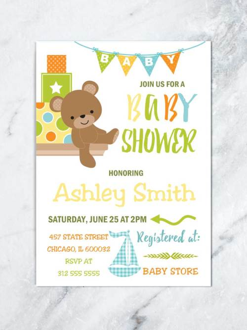 Medium Of Boy Baby Shower Invitations