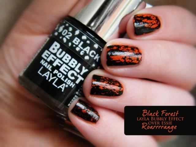 Orange Nail Polish Swatches: Essie Roarrrrange Layla Bubbly Effect Black Forest