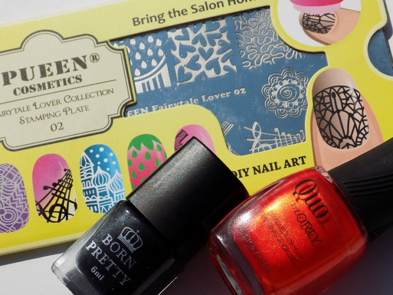 Quo by Orly Freshly Cut - Pueen Fairytale Lover02 - Born Pretty Black Stamping Polish
