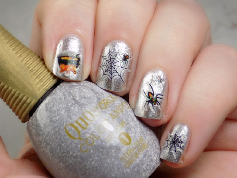 Dollarama Halloween Nail Stickers Over Quo Silver