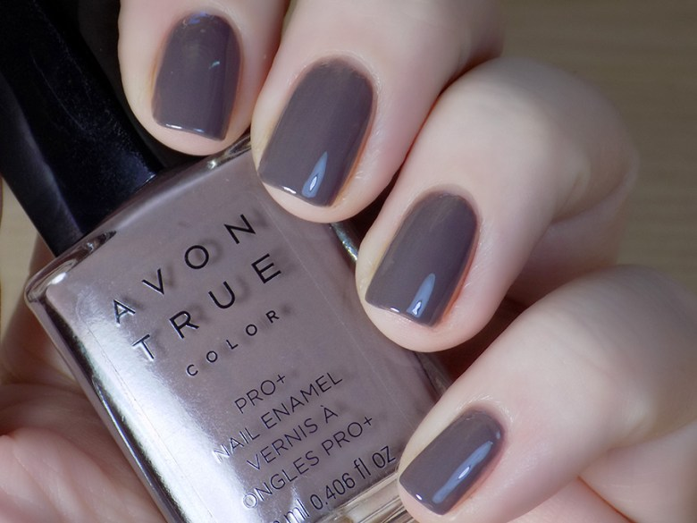 Avon True Color Spring 2017 Nail Polish in Smoky Plum Swatch Artificial White Light