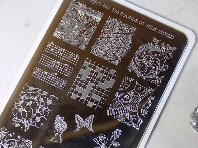Moyra Sounds of Your World 108 Stamping Plate Swatches - Top of stamping plate - Beautometry