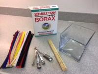 supplies to make borax heart crystals