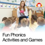 Teacher playing phonics and word games with students.