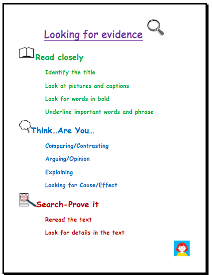 Looking for evidence for text-based writing poster