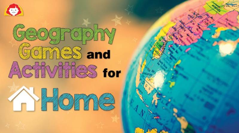 Globe with geography games and activities title