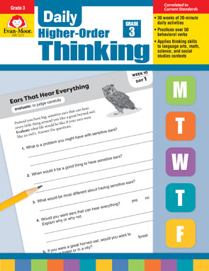Book Cover of Daily Higher-Order Thinking Grade 3