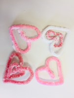 pink and red crystal borax hearts