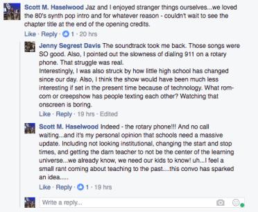 A screen capture of a facebook conversation