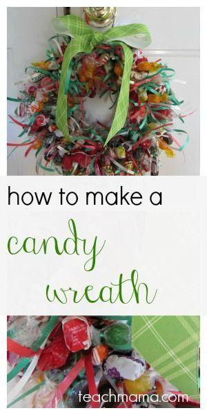 candy wreath close-up and hanging on door