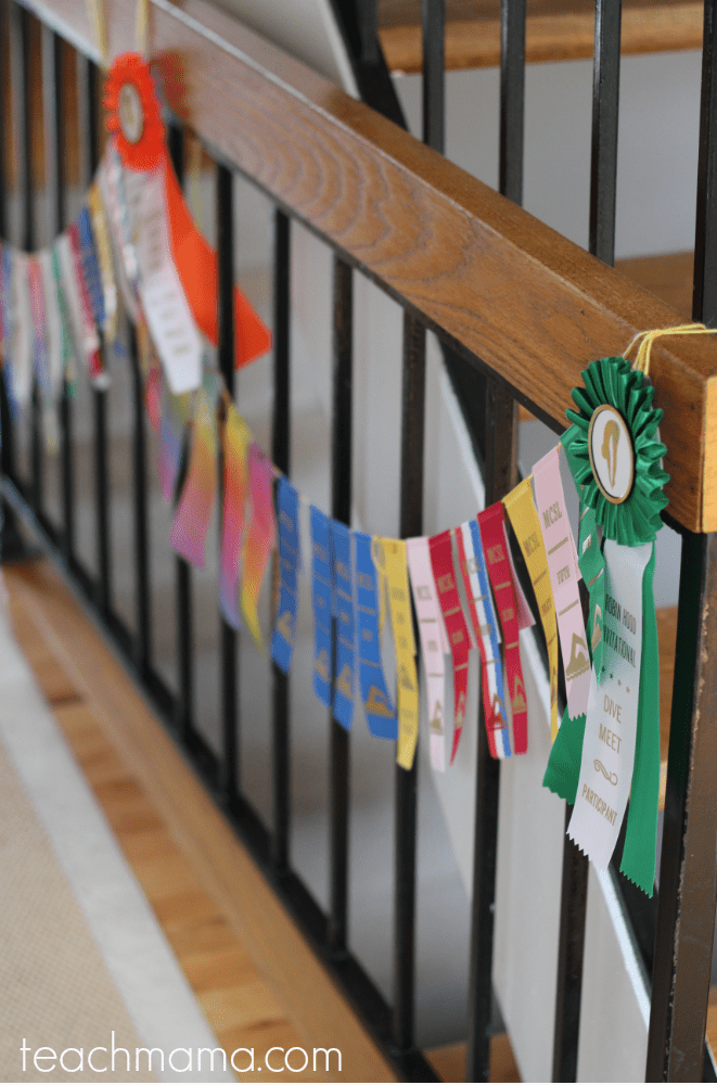 swim ribbon garland: what to do with summer swim ribbons