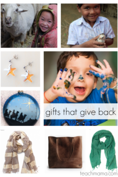 gifts that give back: ideas for kids and family #givingtuesday