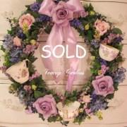 Sweet Lavender Rose Tea Cup Wreath
