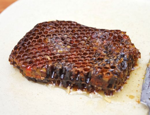 Bees stash their pollen to feed on in honeycombs like this piece.