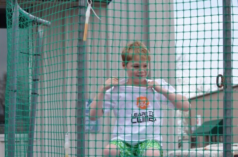 Cody ready to take a turn on the dunk tank.