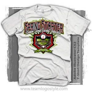 Spring Baseball Shirt Design Template