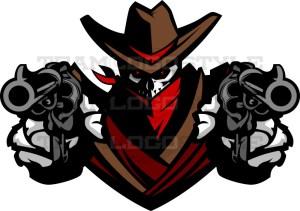 Skeleton Cowboy Logo - Vector Mascot Clipart