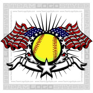 Memorial Day Softball Logo Vector Image