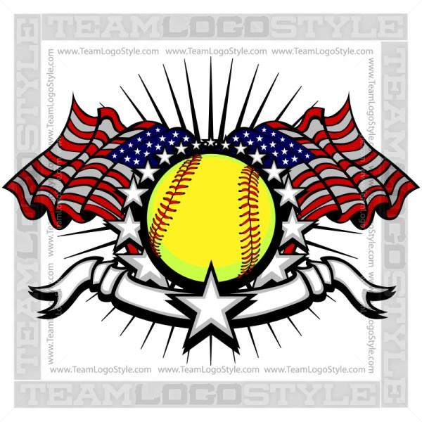 Memorial Day Softball Logo Vector Image