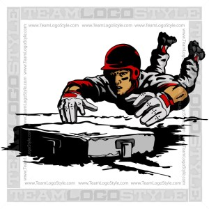 Baseball Player Sliding Clipart