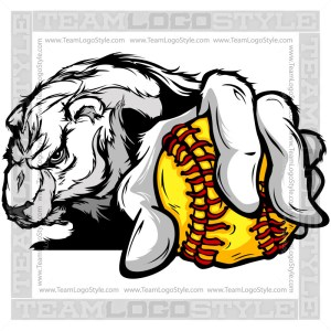 Softball Polar Bear Design Cartoon Clipart